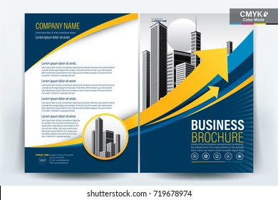 Front and back cover of a modern business brochure layout or flyer design, poster, magazine, annual report, book, booklet with blue and yellow arrow and building image. Size A4 Vector illustration