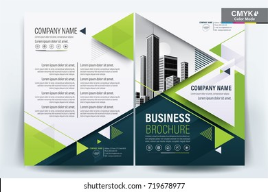 Front and back cover of a modern business brochure layout or flyer template, poster, magazine, annual report, book, booklet with white and green triangle and building image.Size A4 Vector illustration