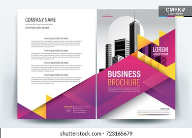 Front and back cover of a modern business brochure layout or flyer template, poster, magazine, annual report, book, booklet with yellow and magenta triangle and building image.  A4 Vector illustration