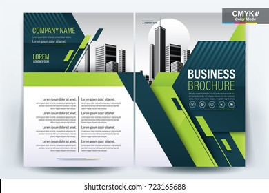 Front and back cover of a modern business brochure layout or flyer template, poster, magazine, annual report, book, booklet with green geometric and building image.Size A4 Vector illustration