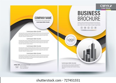Front and back cover of a modern business brochure layout or flyer template, poster, magazine, annual report, book, booklet with yellow wavy and building image. Size A4 CMYK ,Vector illustration.