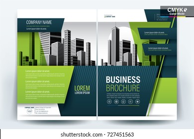 Front and back cover of a modern business brochure layout or flyer template, poster, magazine, annual report, book, booklet with green geometric and building image. Size A4, CMYK Vector illustration.