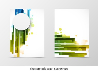 Front and back digital flyer template design. Abstract template with blue and green straight lines and gray paper circle in motion style. Vector illustration