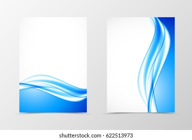 Front and back dynamic design flyer template with bent blue wavy lines in soft elegant style. Vector illustration