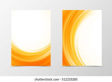 Front and back dynamic flyer template design. Abstract template with orange waves in soft style. Vector illustration