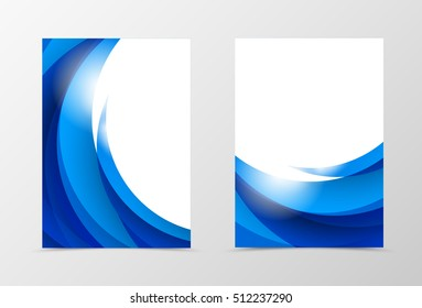 Front and back dynamic flyer template design. Abstract template with blue waves in light soft style. Vector illustration