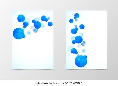 Front and back dynamic flyer template design. Abstract template with blue spheres on light background in geometric style. Vector illustration