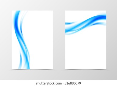 Front and back dynamic flyer template design. Abstract template with blue waves in soft style. Vector illustration