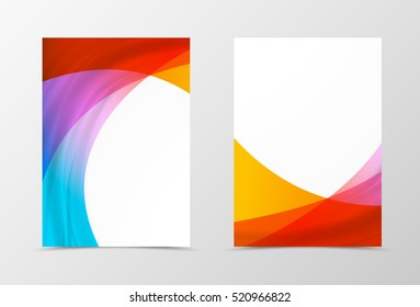 Front and back dynamic flyer template design. Abstract template with colorful waves in futuristic style. Vector illustration