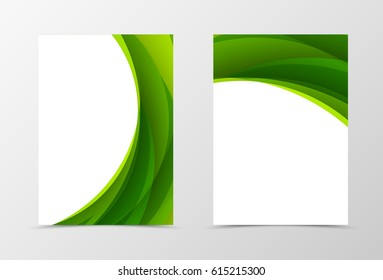 Front and back dynamic flyer template design. Abstract template with green waves in soft style. Vector illustration