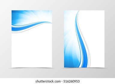 Front and back dynamic wavy flyer template design. Abstract template with blue lines in swirl style. Vector illustration