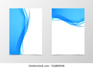 Front and back dynamic wavy flyer template design. Abstract template with blue lines in light style. Vector illustration