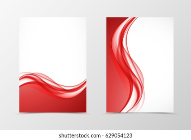 Front and back elegant design flyer template with curved red wavy lines in soft smooth style. Vector illustration
