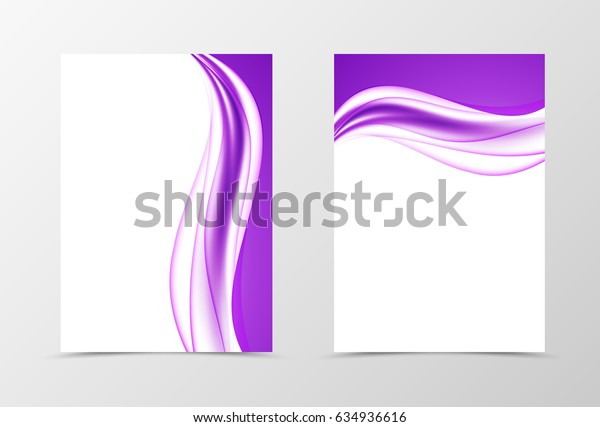 Front and back elegant design flyer template with bright purple waves in smooth soft dynamic style. Vector illustration