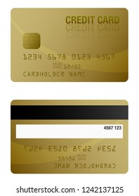 front and back of gold colored credit card template vector illustration