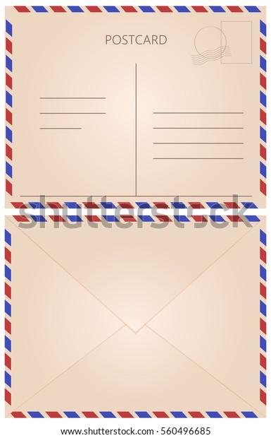 Front Back Letter Postcard Fields Vintage Stock Vector
