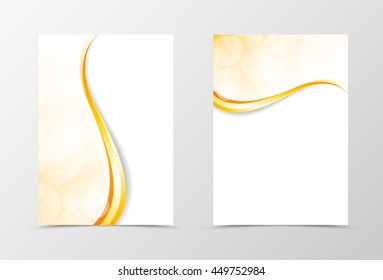 Front and back light smooth flyer template design. Abstract template with golden lines in wavy style. Vector illustration