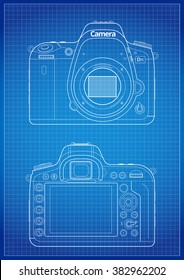 Front, back and matrix with open bayonet of SLR Camera Blueprint Lines with grid. Outline Vector Illustration