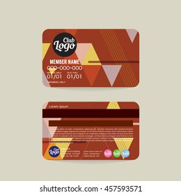 Front And Back Member Card Template Vector Illustration
