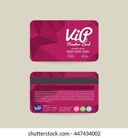 Front And Back Modern Geometric Purple VIP Member Card Template Vector Illustration