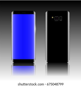 front and back of modern smart phone isolate on gradient background. vector illustration.