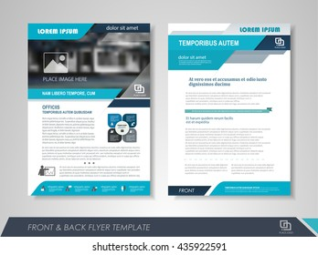 Front and back page brochure flyer design with business icons and infographic elements.