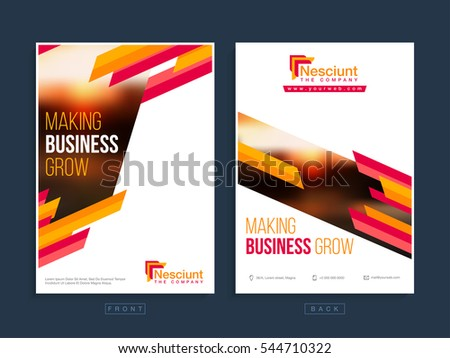 Front Back Page Presentation Professional Business Stock Vector