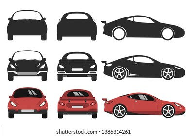 Front, back and side car projection. Flat illustration for designing icons