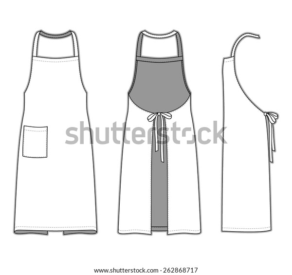 Front Back Side Views Apron Blank Stock Vector Royalty Free 262868717