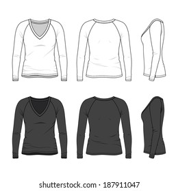 Front, back and side views of blank women's v-neck tee. Vector illustration. Isolated on white.