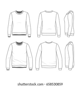 Front, back and side views of clothing set. Blank vector templates of men's and women's sweatshirts. Fashion illustration. Line art design.