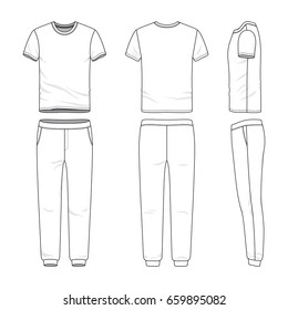 Front, back and side views of lon sleeved t-shirt and sweatpants. Blank vector templates. Clothing set. Sportswear. Fashion illustration. Isolated on white background.