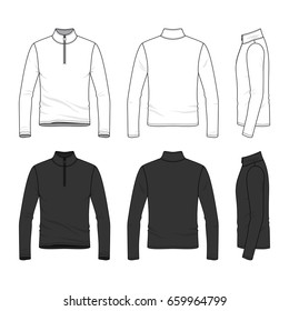 Front, back and side views of long sleeved shirt with zipper. Clothing set in white and black colors. Blank vector templates. Fashion illustration. Isolated on white background.
