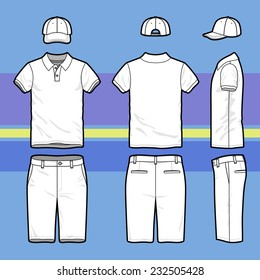 Front Back And Side Views Of Mens Golf Set Blank Templates Polo T
