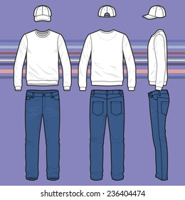 Front, back and side views of men's clothing set. Blank templates of sweatshirt, cap and jeans.  Casual style. Vector illustration on the striped background for your fashion design.