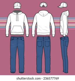 Front, back and side views of men's clothing set. Blank templates of hoodie, cap and jeans.  Casual style. Vector illustration on the striped background for your fashion design.
