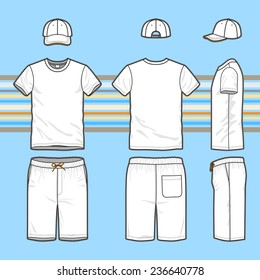 Front, back and side views of men's set. Blank templates of t-shirt, cap and swim shorts. Casual style. Vector illustration on the striped background for your fashion design.