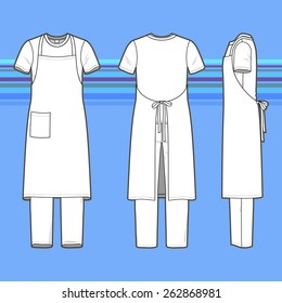 Front, back and side views of men's set. Blank templates of t-shirt, pants and apron. Casual style. Vector illustration on the striped background for your fashion design.