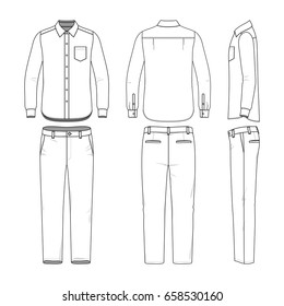 Front, back and side views of men's shirt and pants. Blank clothing templates in casual style. Fashion vector illustration.
