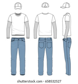 Front, back and side views of men's wear. Blank vector templates of tee shirt, pants, baseball cap. Clothing set in casual style. Fashion illustration.