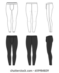 Front, back and side views of training tights. Clothing set in white and black colors. Blank vector templates of running joggers. Fashion illustration. Isolated on white background.