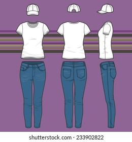 Front, back and side views of women's clothing set. Blank templates of t-shirt, cap and jeans.  Casual style. Vector illustration on the striped background for your fashion design.