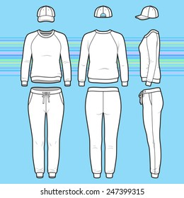 Front, back and side views of women's clothing set. Blank templates of sweatshirt, cap and sweatpants. Sport style. Vector illustration on the striped background for your fashion design.