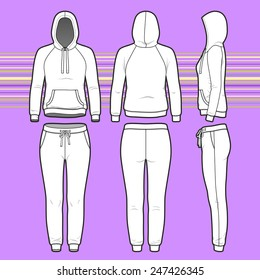 Front, back and side views of women's clothing set. Blank templates of hoodie and sweatpants. Sport style. Vector illustration on the striped background for your fashion design.