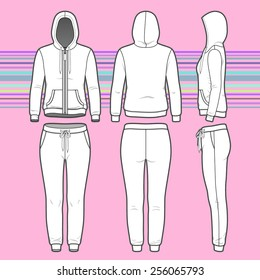Front, back and side views of women's clothing set. Blank templates of hoodi with zipper and sweatpants. Sport style. Vector illustration on the striped background for your fashion design.