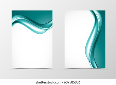 Front and back soft design flyer template with elegant turquoise wavy lines in light dynamic smooth style. Vector illustration
