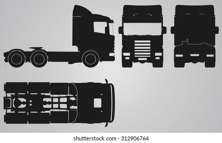 Front, back, top and side truck without trailer projection. Flat illustration for designing icons