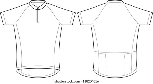 Front and back vector cycling jersey template. dc33978e8