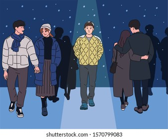 Front and back view of couple walking tenderly on snowy day. A man in it stands alone in a field jacket liner. hand drawn style vector design illustrations.