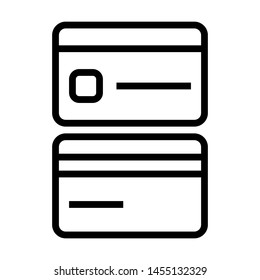 Front and Back view of Credit card icons. Stroke outline style. Vector. Isolate on white background.